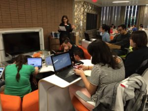 Students in History 191D listen to UCLA librarian Margarita Nafpaktitis explain editing rules for Wikipedia.